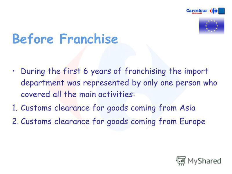 1 Before Franchise During the first 6 years of franchising the import department was represented by only one person who covered all the main activities: 1.Customs clearance for goods coming from Asia 2.Customs clearance for goods coming from Europe