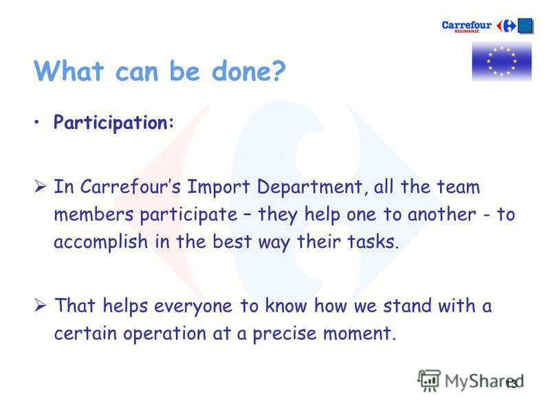 13 What can be done? Participation: In Carrefours Import Department, all the team members participate – they help one to another - to accomplish in the best way their tasks. That helps everyone to know how we stand with a certain operation at a preci
