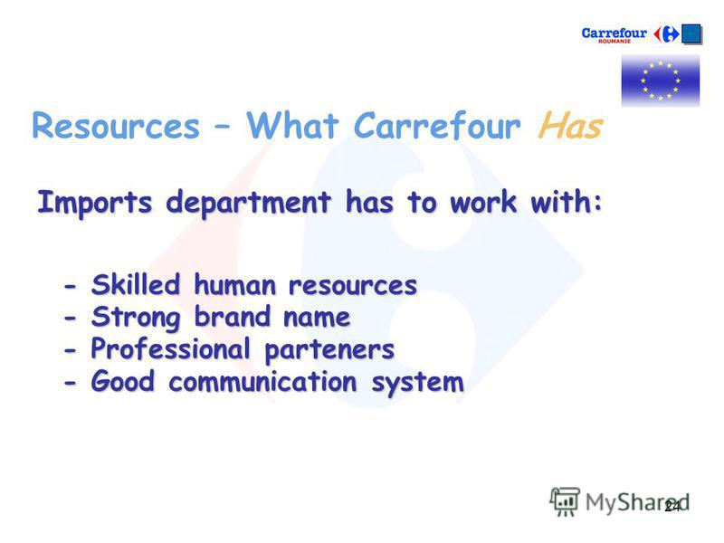 24 Resources – What Carrefour Has Imports department has to work with: - Skilled human resources - Strong brand name - Professional parteners - Good communication system