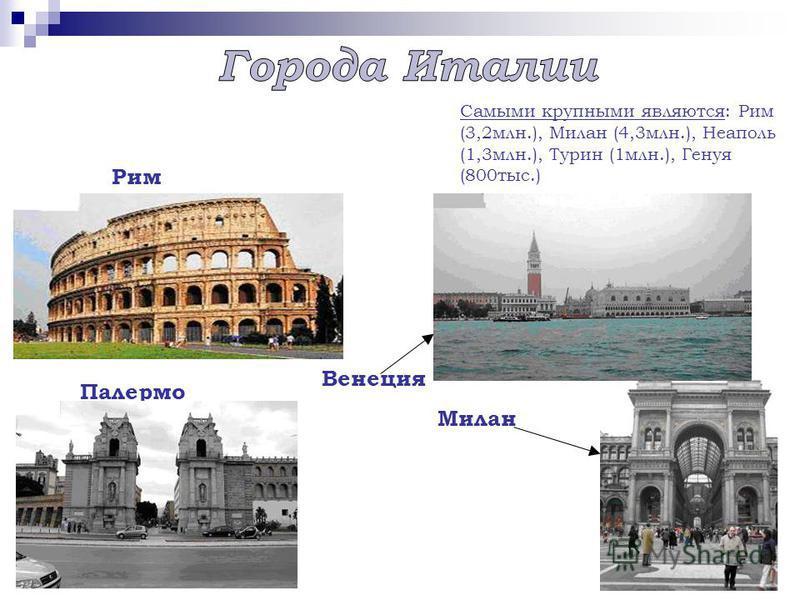 Рим Венеция Палермо Милан Самыми крупными являются: Рим (3,2 млн.), Милан (4,3 млн.), Неаполь (1,3 млн.), Турин (1 млн.), Генуя (800 тыс.)