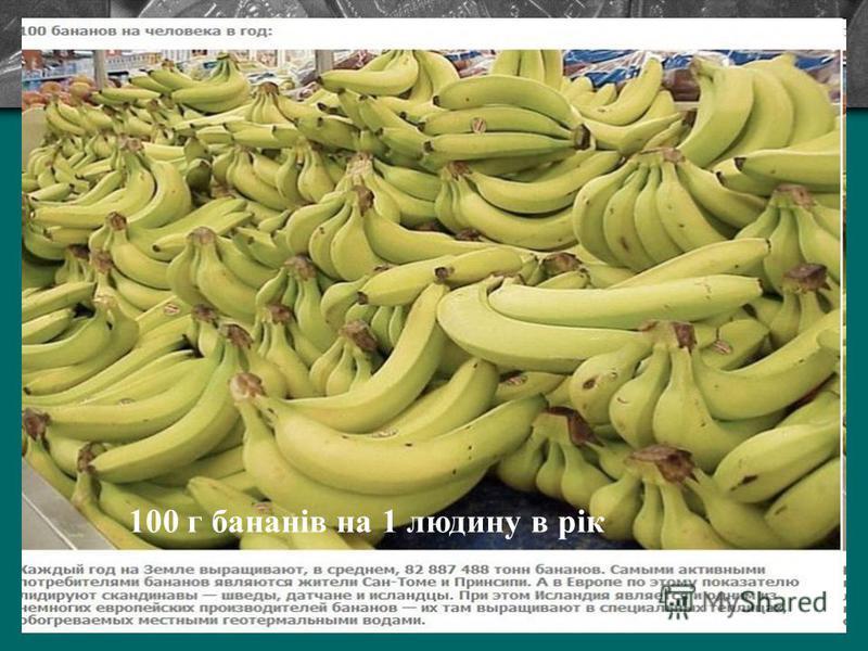 100 г бананів на 1 людину в рік