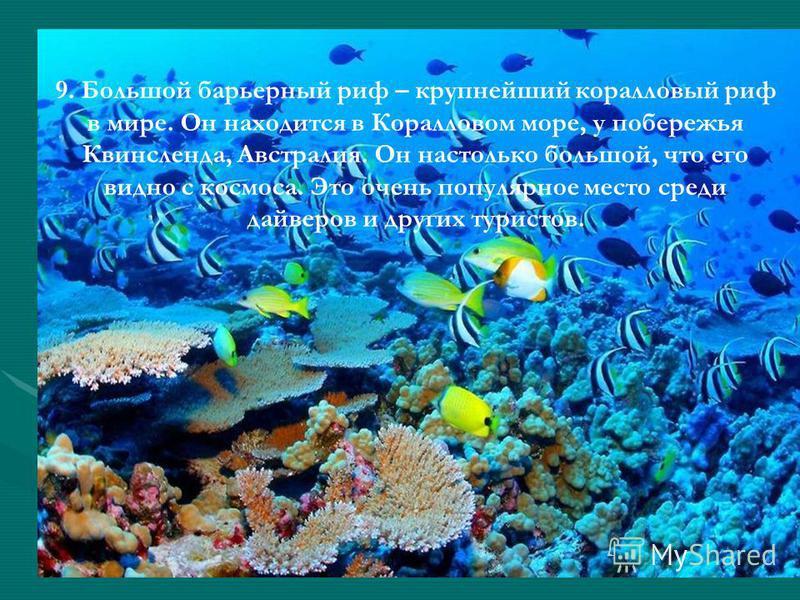 9. Большой барьерный риф – крупнейший коралловый риф в мире. Он находится в Коралловом море, у побережья Квинсленда, Австралия. Он настолько большой, что его видно с космоса. Это очень популярное место среди дайверов и других туристов.