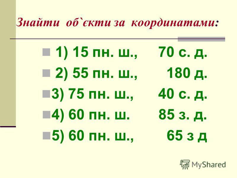 Знайти об`єкти за координатами: 1) 15 пн. ш., 70 с. д. 2) 55 пн. ш., 180 д. 3) 75 пн. ш., 40 с. д. 4) 60 пн. ш. 85 з. д. 5) 60 пн. ш., 65 з д
