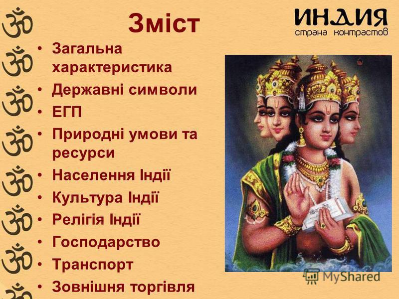 Зміст Загальна характеристика Державні символи ЕГП Природні умови та ресурси Населення Індії Культура Індії Релігія Індії Господарство Транспорт Зовнішня торгівля