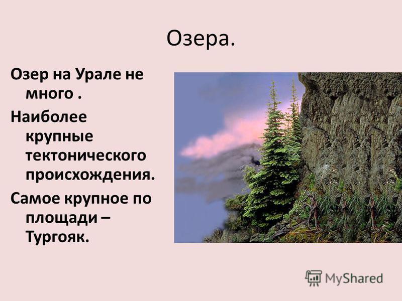 Озера. Озер на Урале не много. Наиболее крупные тектонического происхождения. Самое крупное по площади – Тургояк.
