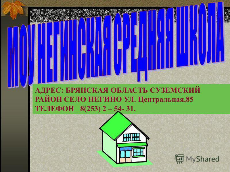 АДРЕС: БРЯНСКАЯ ОБЛАСТЬ СУЗЕМСКИЙ РАЙОН СЕЛО НЕГИНО УЛ. Центральная,85 ТЕЛЕФОН 8(253) 2 – 54- 31.