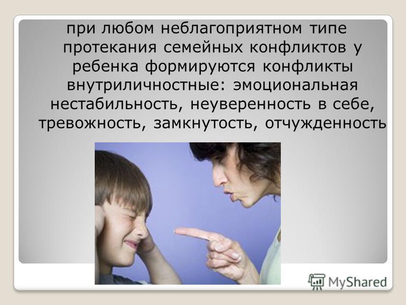 при любом неблагоприятном типе протекания семейных конфликтов у ребенка формируются конфликты внутриличностные: эмоциональная нестабильность, неуверенность в себе, тревожность, замкнутость, отчужденность