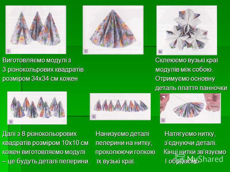Виготовляємо модулі з Склеюємо вузькі краї 3 різнокольрових квадратів модулів між собою. розміром 34х34 см кожен Отримуємо основну деталь плаття панночки деталь плаття панночки Далі з 8 різнокольорових Нанизуємо деталі Натягуємо нитку, квадратів розм