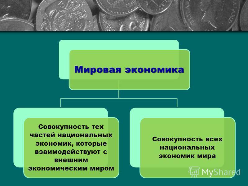 Мировая экономика Совокупность тех частей национальных экономик, которые взаимодействуют с внешним экономическим миром Совокупность всех национальных экономик мира