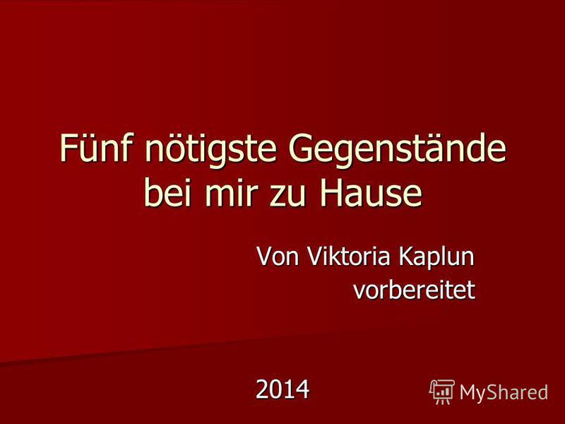 Fünf nötigste Gegenstände bei mir zu Hause Von Viktoria Kaplun vorbereitet2014