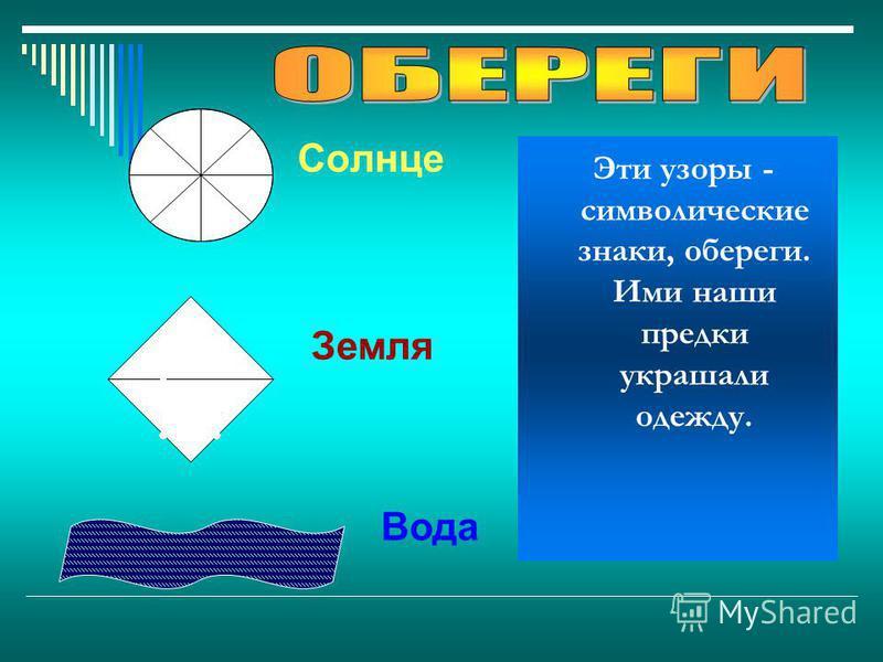 Солнце Земля Эти узоры - символические знаки, обереги. Ими наши предки украшали одежду. Вода