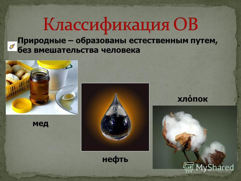 Природные – образованы естественным путем, без вмешательства человека мед нефть хлопок