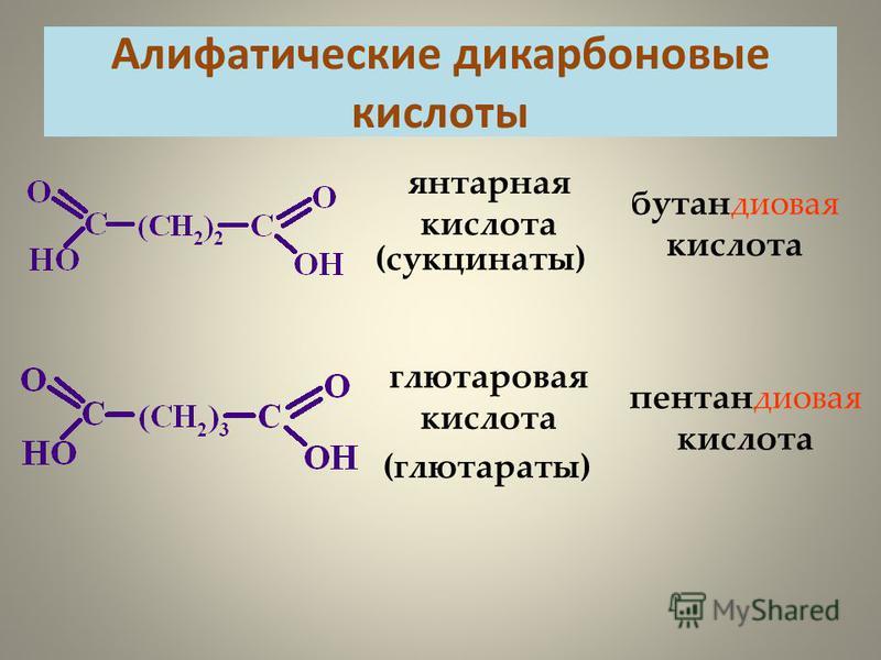 Алифатические дикарбоновые кислоты бутандиновая кислота (сукцинаты) янтарная кислота пентандиновая кислота (глютараты) глутарновая кислота