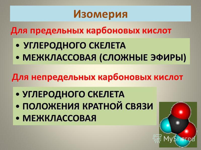 Для предельных карбоновых кислот УГЛЕРОДНОГО СКЕЛЕТА УГЛЕРОДНОГО СКЕЛЕТА МЕЖКЛАССОВАЯ (СЛОЖНЫЕ ЭФИРЫ) МЕЖКЛАССОВАЯ (СЛОЖНЫЕ ЭФИРЫ) Для непредельных карбоновых кислот УГЛЕРОДНОГО СКЕЛЕТА УГЛЕРОДНОГО СКЕЛЕТА ПОЛОЖЕНИЯ КРАТНОЙ СВЯЗИ ПОЛОЖЕНИЯ КРАТНОЙ СВ