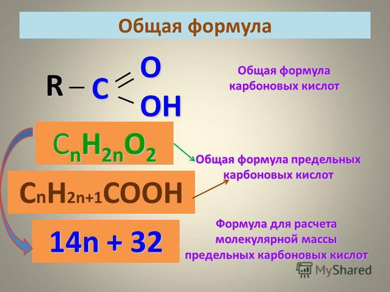 R C OOH Общая формула карбоновых кислот С n H 2n O 2 14n + 32 Общая формула предельных карбоновых кислот Формула для расчета молекулярной массы предельных карбоновых кислот Общая формула С n H 2n+1 COOН