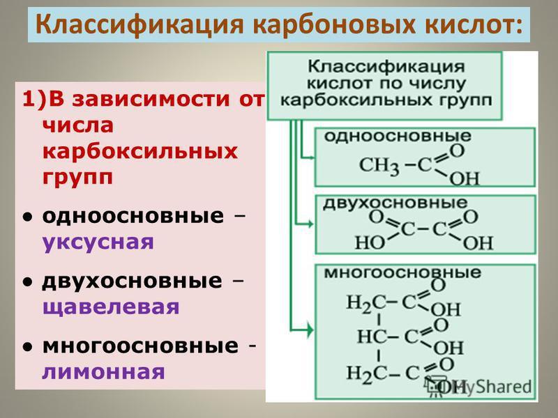1)В зависимости от числа карбоксильных групп одноосновные – уксусная двухосновные – щавелевая многоосновные - лимонная Классификация карбоновых кислот:
