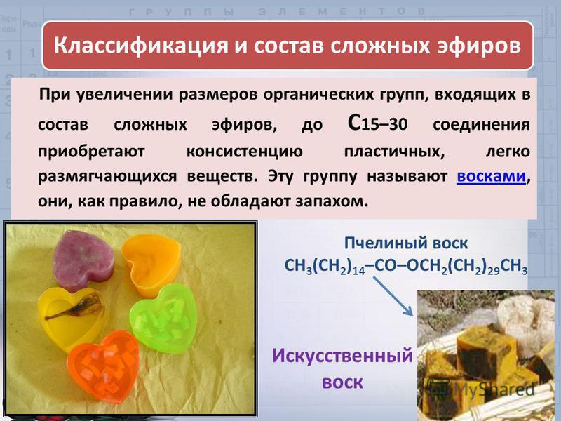 При увеличении размеров органических групп, входящих в состав сложных эфиров, до С 15–30 соединения приобретают консистенцию пластичных, легко размягчающихся веществ. Эту группу называют восками, они, как правило, не обладают запахом.восками Классифи