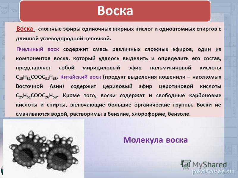 Воска Воска - сложные эфиры одиночных жирных кислот и одноатомных спиртов с длинной углеводородной цепочкой. Пчелиный воск содержит смесь различных сложных эфиров, один из компонентов воска, который удалось выделить и определить его состав, представл