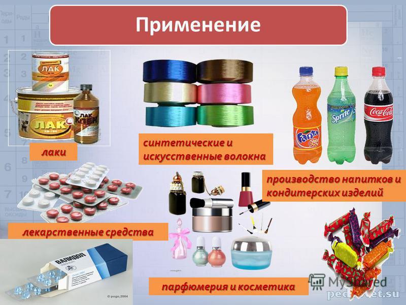 лекарственные средства синтетические и искусственные волокна лаки производство напитков и кондитерских изделий парфюмерия и косметика Применение