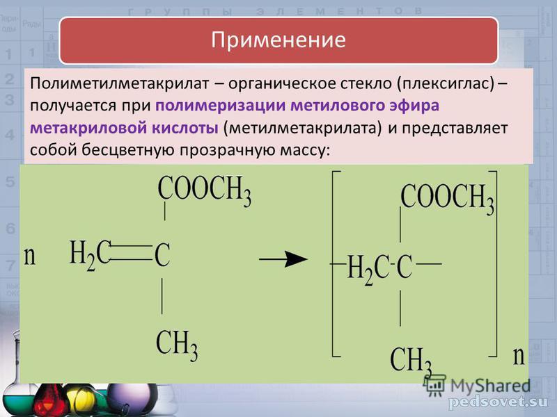 Полиметилметакрилат – органическое стекло (плексиглас) – получается при полимеризации метилового эфира метакриловой кислоты (метилметакрилата) и представляет собой бесцветную прозрачную массу: Применение