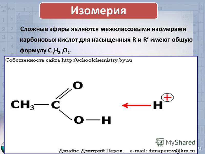 Изомерия Сложные эфиры являются межклассовыми изомерами карбоновых кислот для насыщенных R и R имеют общую формулу C n H 2n O 2.