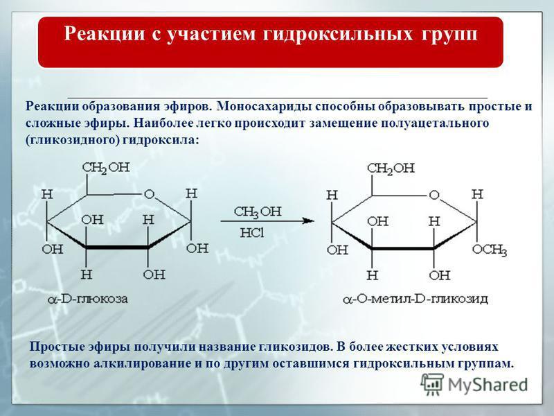 Реакции с участием гидроксильных групп Для глюкозы характерны реакции многоатомных спиртов, в том числе и качественная реакция: при взаимодействии гидроксида меди (II) с раствором глюкозы образуется комплексное соединение ярко-синего цвета, осадок Cu