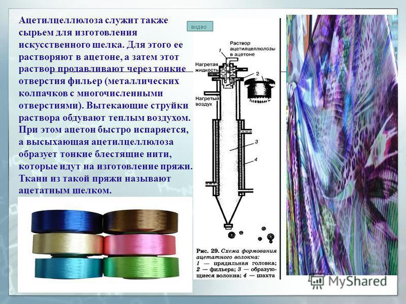 Ацетилцеллюлоза служит также сырьем для изготовления искусственного шелка. Для этого ее растворяют в ацетоне, а затем этот раствор продавливают через тонкие отверстия фильер (металлических колпачков с многочисленными отверстиями). Вытекающие струйки
