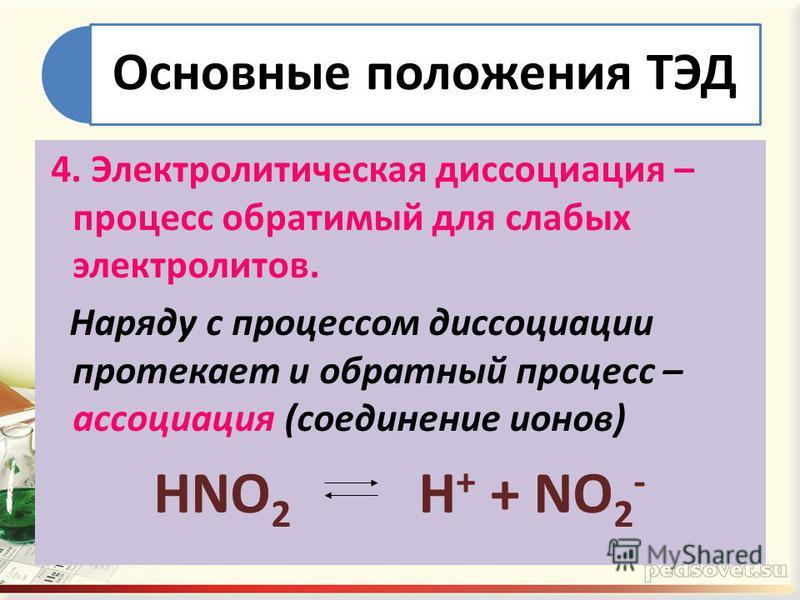 Основные положения ТЭД 4. Электролитическая диссоциация – процесс обратимый для слабых электролитов. Наряду с процессом диссоциации протекает и обратный процесс – ассоциация (соединение ионов) HNO 2 H + + NO 2 -