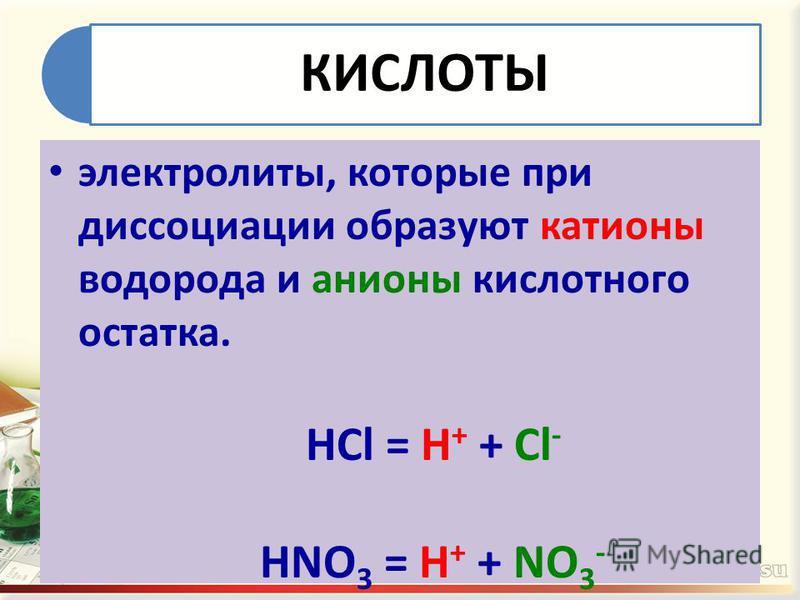 КИСЛОТЫ электролиты, которые при диссоциации образуют катионы водорода и анионы кислотного остатка. HCl = H + + Cl - HNO 3 = H + + NO 3 -