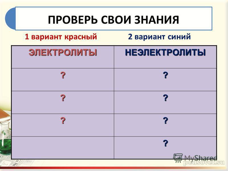ПРОВЕРЬ СВОИ ЗНАНИЯЭЛЕКТРОЛИТЫНЕЭЛЕКТРОЛИТЫ ?? ?? ?? ? 1 вариант красный 2 вариант синий