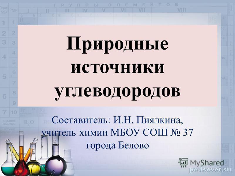Природные источники углеводородов Составитель: И.Н. Пиялкина, учитель химии МБОУ СОШ 37 города Белово