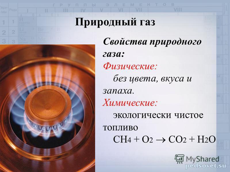 Природный газ Свойства природного газа: Физические: без цвета, вкуса и запаха. Химические: экологически чистое топливо СН 4 + О 2 СО 2 + Н 2 О
