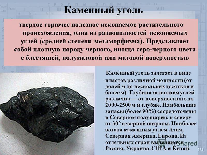 твердое горючее полезное ископаемое растительного происхождения, одна из разновидностей ископаемых углей (средней степени метаморфизма). Представляет собой плотную породу черного, иногда серо-черного цвета с блестящей, полуматовой или матовой поверхн