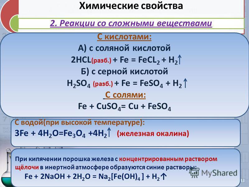 Химические свойства 2. Реакции со сложными веществами С кислотами: А) с соляной кислотой 2HCL (раза.) + Fe = FeCL 2 + H 2 Б) с серной кислотой H 2 SO 4 (раза.) + Fe = FeSO 4 + H 2 С солями: Fe + CuSO 4 = Cu + FeSO 4 С водой(при высокой температуре):