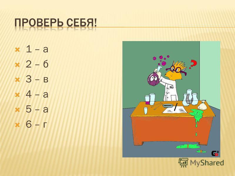 1 – а 2 – б 3 – в 4 – а 5 – а 6 – г