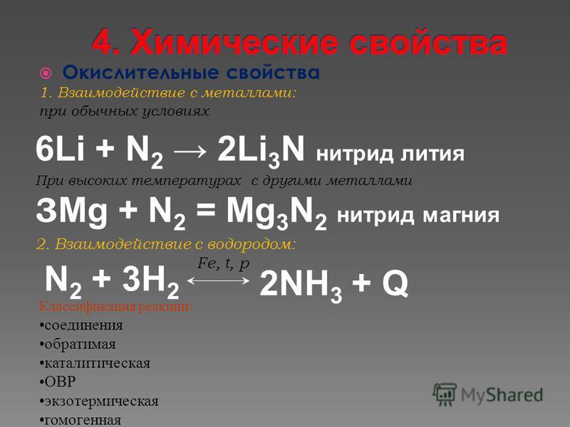 Окислительные свойства 1. Взаимодействие с металлами: при обычных условиях При высоких температурах c другими металлами 3 Mg + N 2 = Mg 3 N 2 нитрид магния 6Li + N 2 2Li 3 N нитрид лития N 2 + 3H 2 2NH 3 + Q 2. Взаимодействие с водородом: Fe, t, p Кл