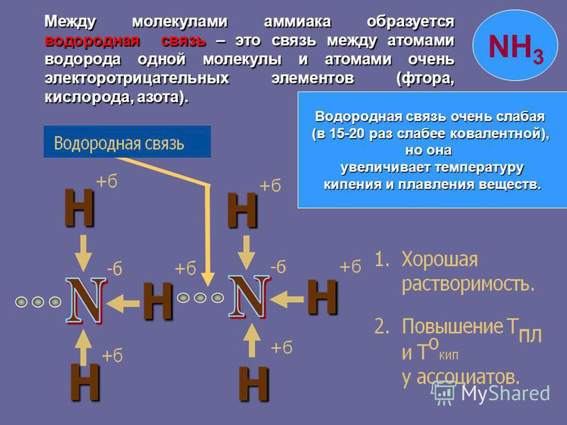 Водородная связь очень слабая (в 15-20 раз слабее ковалентной), но она увеличивает температуру увеличивает температуру кипения и плавления веществ. Между молекулами аммиака образуется водородная связь – это связь между атомами водорода одной молекулы
