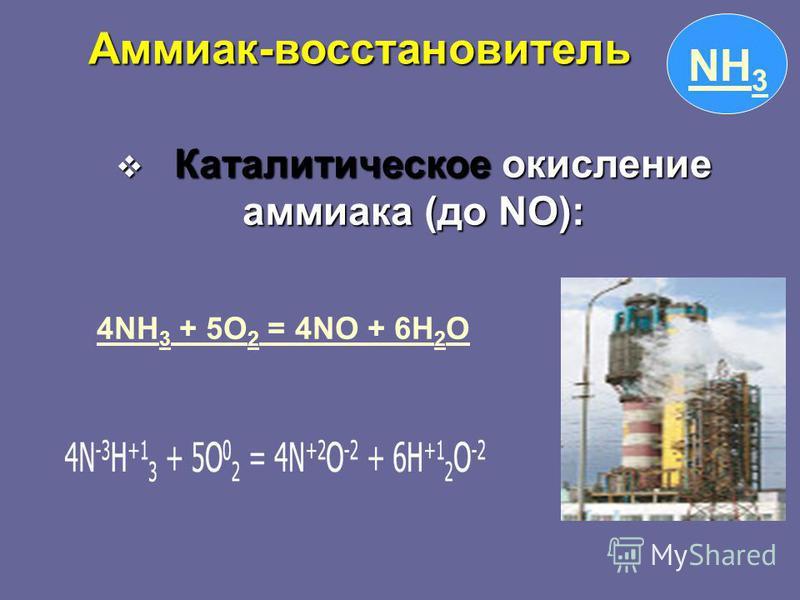 NH 3 Каталитическое окисление аммиака (до NO): Каталитическое окисление аммиака (до NO): 4NH 3 + 5O 2 = 4NO + 6H 2 O4NH 3 + 5O 2 = 4NO + 6H 2 O Аммиак-восстановитель Аммиак-восстановитель