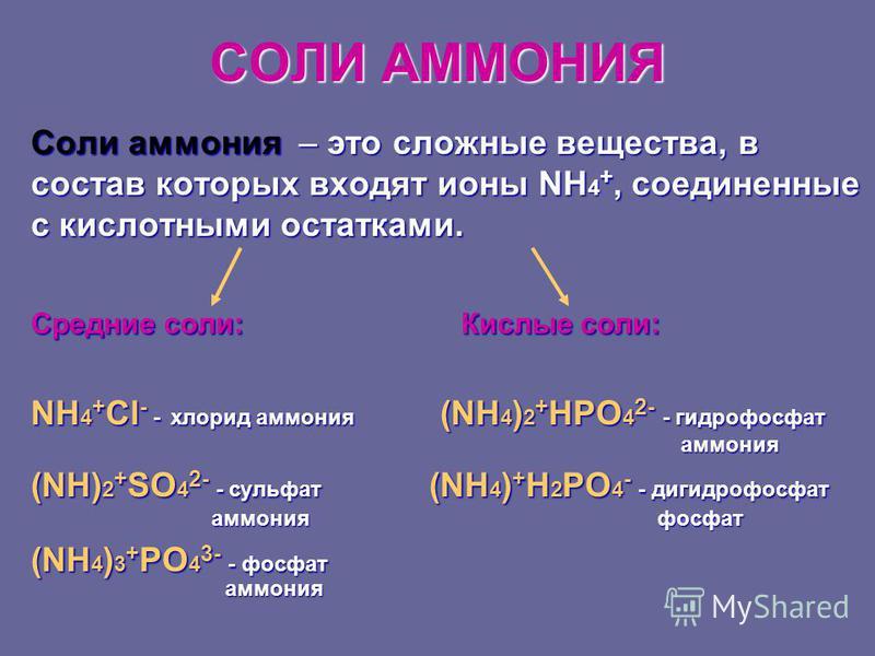СОЛИ АММОНИЯ Соли аммония – это сложные вещества, в состав которых входят ионы NH 4 +, соединенные с кислотными остатками. Средние соли: Кислые соли: NH 4 + Cl - - хлорид аммония (NH 4 ) 2 + HPO 4 2- - гидрофосфат аммония аммония (NH) 2 + SO 4 2- - с