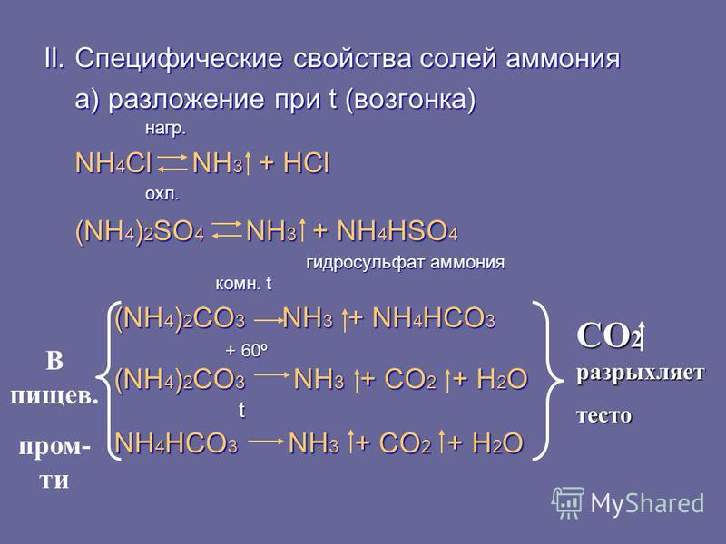 II. Специфические свойства солей аммония а) разложение при t (возгонка) а) разложение при t (возгонка) нагр. нагр. NH 4 Cl NH 3 + HCl NH 4 Cl NH 3 + HCl охл. охл. (NH 4 ) 2 SO 4 NH 3 + NH 4 HSO 4 (NH 4 ) 2 SO 4 NH 3 + NH 4 HSO 4 гидросульфат аммония