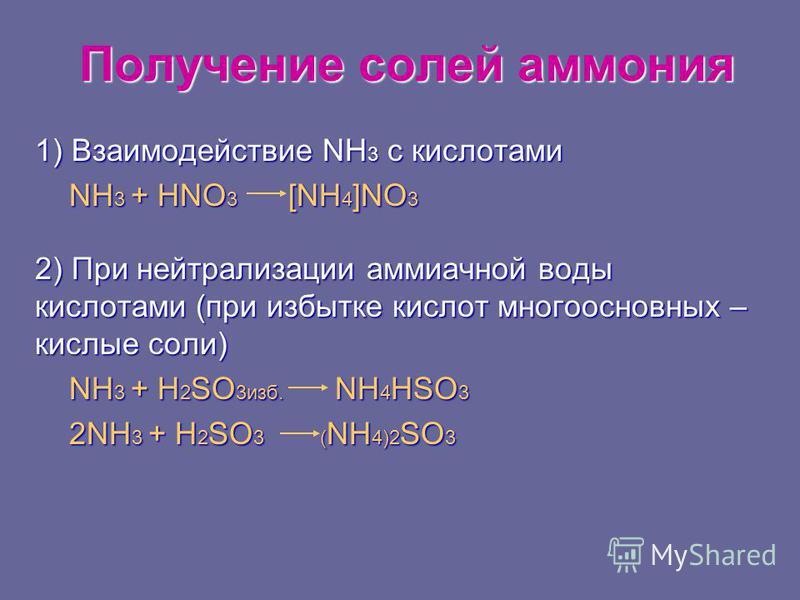 Получение солей аммония 1) Взаимодействие NH 3 с кислотами NH 3 + HNO 3 [NH 4 ]NO 3 NH 3 + HNO 3 [NH 4 ]NO 3 2) При нейтрализации аммиачной воды кислотами (при избытке кислот многоосновных – кислые соли) NH 3 + H 2 SO 3 изб. NH 4 HSO 3 NH 3 + H 2 SO