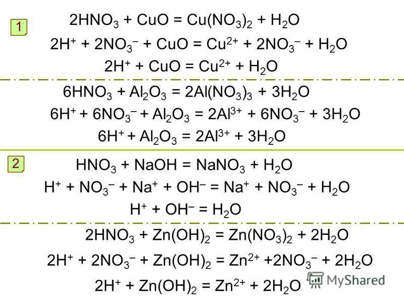 2HNO 3 + CuO = Cu(NO 3 ) 2 + H 2 O 1 2H + + 2NO 3 – + CuO = Cu 2+ + 2NO 3 – + H 2 O 2H + + CuO = Cu 2+ + H 2 O 6HNO 3 + Al 2 O 3 = 2Al(NO 3 ) 3 + 3H 2 O 6H + + 6NO 3 – + Al 2 O 3 = 2Al 3+ + 6NO 3 – + 3H 2 O 6H + + Al 2 O 3 = 2Al 3+ + 3H 2 O HNO 3 + N