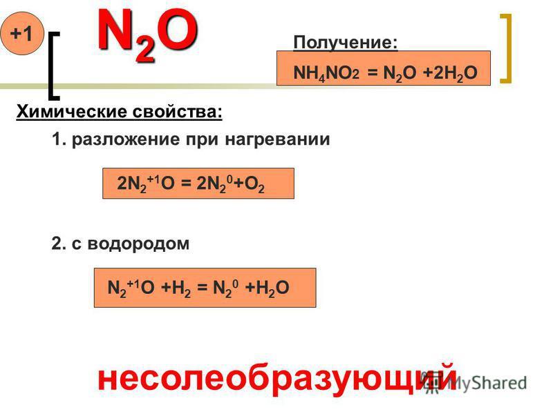 N 2 O N 2 O Получение: NH 4 NO 2 = N 2 O +2H 2 O Химические свойства: 1. разложение при нагревании 2N 2 +1 O = 2N 2 0 +O 2 2. с водородом N 2 +1 O +H 2 = N 2 0 +H 2 O несолеобразующий +1