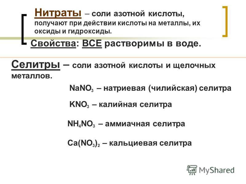 Нитраты – соли азотной кислоты, получают при действии кислоты на металлы, их оксиды и гидроксиды. Селитры – соли азотной кислоты и щелочных металлов. NaNO 3 – натриевая (чилийская) селитра KNO 3 – калийная селитра NH 4 NO 3 – аммиачная селитра Ca(NO