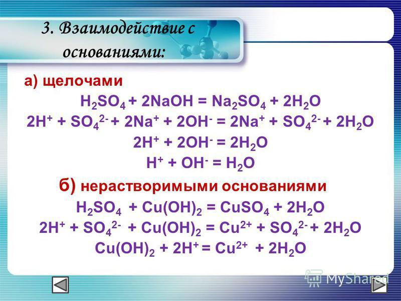 3. Взаимодействие с основаниями: а) щелочами H 2 SO 4 + 2NaOH = Na 2 SO 4 + 2H 2 O 2H + + SO 4 2- + 2Na + + 2OH - = 2Na + + SO 4 2- + 2H 2 O 2H + + 2OH - = 2H 2 O H + + OH - = H 2 O б) нерастворимыми основаниями H 2 SO 4 + Cu(OH) 2 = CuSO 4 + 2H 2 O