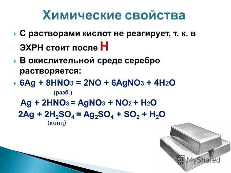 С растворами кислот не реагирует, т. к. в ЭХРН стоит после Н В окислительной среде серебро растворяется: 6Ag + 8HNO 3 = 2 NO + 6AgNO 3 + 4 Н 2 О (разб.) Ag + 2HNO 3 = AgNO 3 + NO 2 + H 2 O 2Ag + 2H 2 SO 4 = Ag 2 SO 4 + SO 2 + H 2 O (конц)