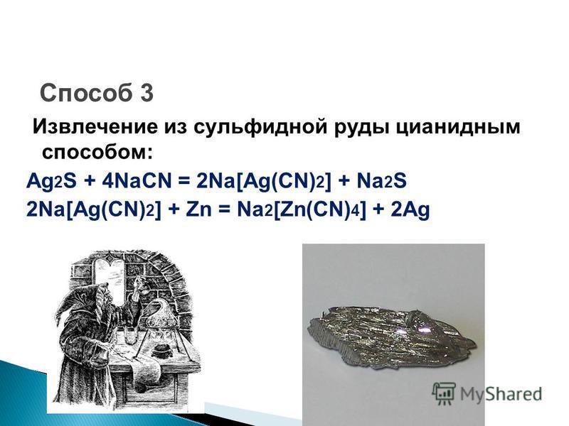 Способ 3 Извлечение из сульфидной руды цианидным способом: Ag 2 S + 4NaCN = 2Na[Ag(CN) 2 ] + Na 2 S 2Na[Ag(CN) 2 ] + Zn = Na 2 [Zn(CN) 4 ] + 2Ag