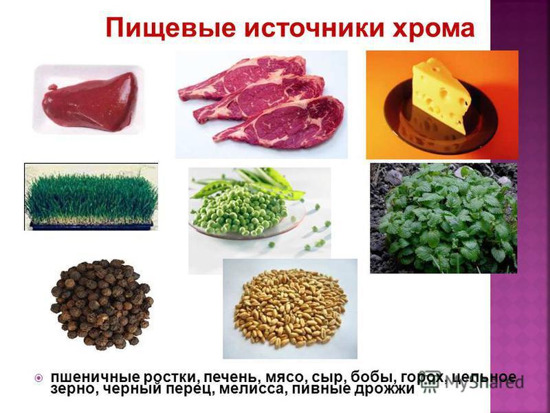 пшеничные ростки, печень, мясо, сыр, бобы, горох, цельное зерно, черный перец, мелисса, пивные дрожжи Пищевые источники хрома