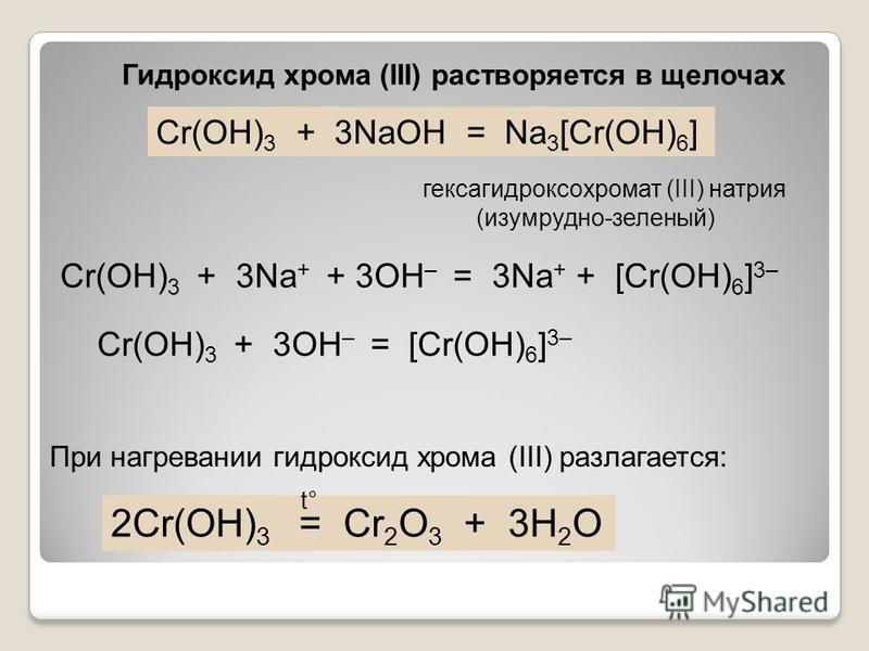 Cr(OH) 3 + 3NaOH = Na 3 [Cr(OH) 6 ] Cr(OH) 3 + 3Na + + 3OH – = 3Na + + [Cr(OH) 6 ] 3– Cr(OH) 3 + 3OH – = [Cr(OH) 6 ] 3– 2Cr(OH) 3 = Cr 2 O 3 + 3H 2 O t° Гидроксид хрома (III) растворяется в щелочах При нагревании гидроксид хрома (III) разлагается: ге