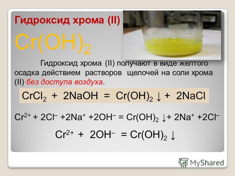 Cr(OH) 2 Гидроксид хрома (II) Гидроксид хрома (II) получают в виде желтого осадка действием растворов щелочей на соли хрома (II) без доступа воздуха. CrCl 2 + 2NaOH = Cr(OH) 2 + 2NaCl Cr 2+ + 2Cl – +2Na + +2OH – = Cr(OH) 2 + 2Na + +2Cl – Cr 2+ + 2OH
